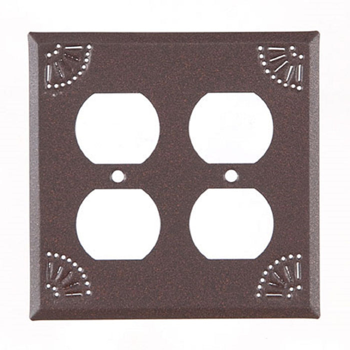 PUNCHED TIN SWITCH PLATES ~ Set of Five (5) ~ Chisel Pattern in Weathered Brown Finish
