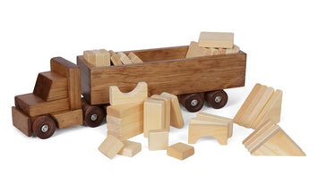 CARGO TRUCK with BUILDING BLOCKS - Handmade Tractor Trailer Set USA