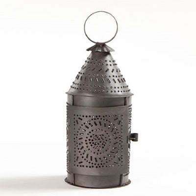 "10"" Colonial Punched Tin Lantern in Smokey Black Finish"
