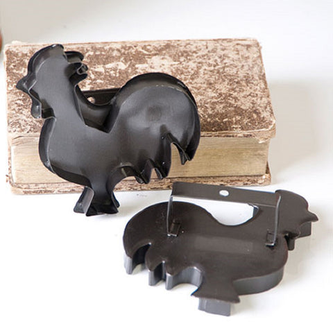 12 ROOSTER COOKIE CUTTERS ~ Country Decor Ornament Set in Smokey Black