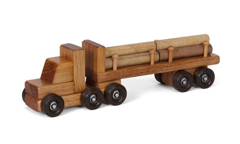 LOG TRACTOR TRAILER TRUCK Amish Handmade Wood Toy with Logs