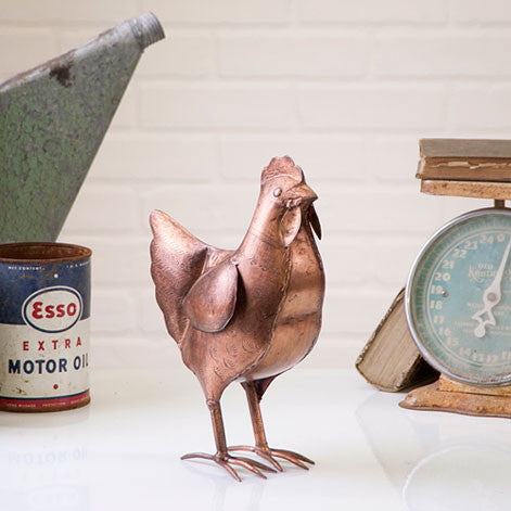 Antique Polished Copper Chicken Farm Home Decor