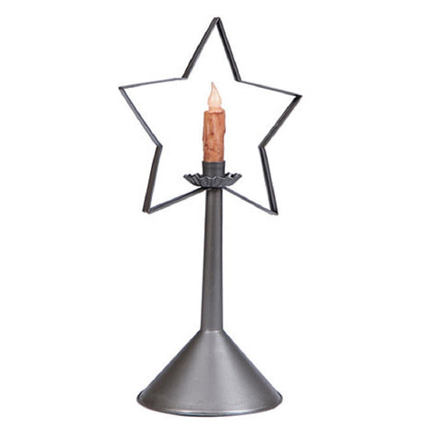 TIN STAR CANDLE HOLDER Primitive Colonial Holiday Accent in Smokey Black Finish