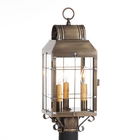 OUTDOOR POST LANTERN Weathered Brass Handcrafted Colonial Post Mount Light