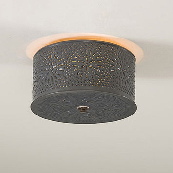 CEILING LIGHT Primitive Round Punched Chisel Pattern Country Tin Finish