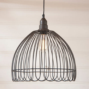 PETAL WIRE PENDANT LAMP in Smokey Black Finish