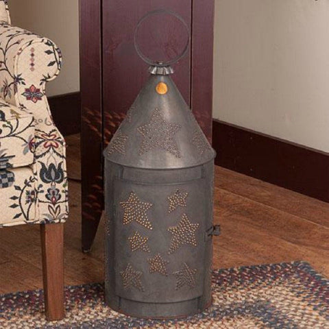 HUGE FLOOR LANTERN LIGHT Handcrafted 36 inch Primitive Punched Tin Lamp in Star Pattern