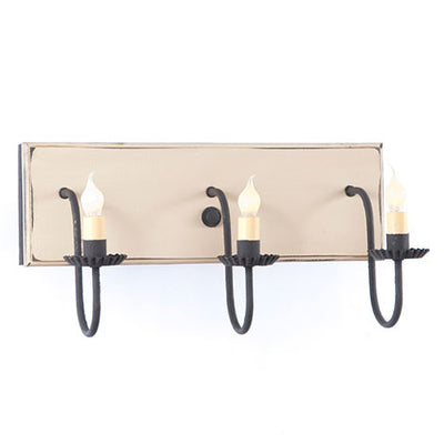 3 ARM CANDELABRA VANITY LIGHT ~ Rustic Wall Fixture in Sturbridge Colors