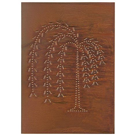 4 Punched Tin Panels ~ Handcrafted Vertical Primitive WILLOW TREE Design in 4 Finishes