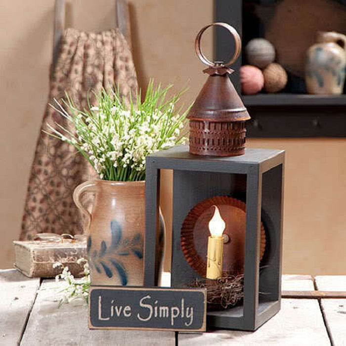 Wood & Metal Lantern with Antiqued Reflector in Sturbridge Black