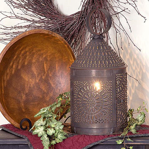 "15"" Fireside Colonial Lantern with Chisel Pattern in Blackened Tin Finish"