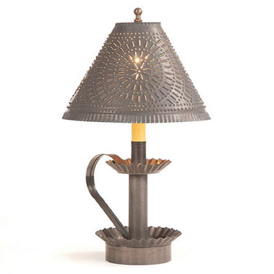 Primitive Punched Tin Candlestick Accent Light in Blackened Tin with Chisel Shade