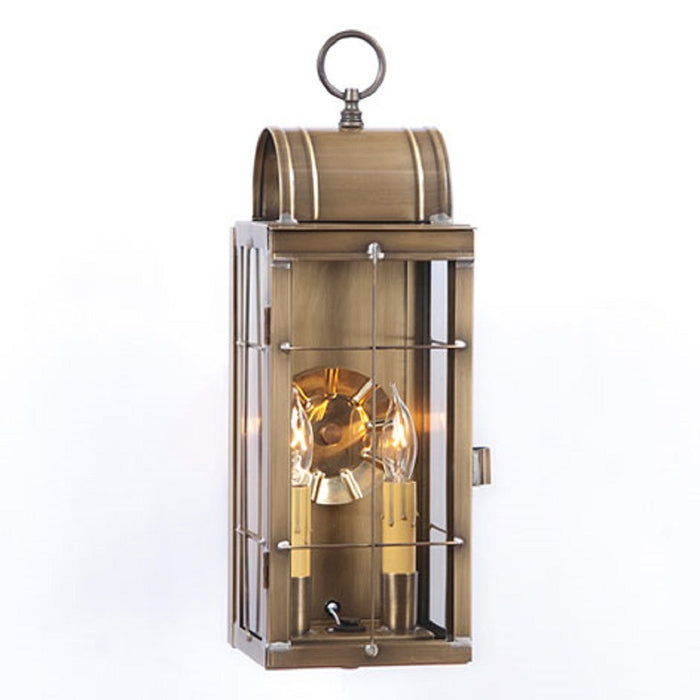 2 CANDLE COLONIAL LANTERN SCONCE Handcrafted in Weathered Brass & Antique Copper
