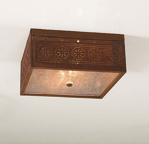 CEILING LIGHT Square Pierced & Seedy Glass with Chisel Pattern & Rustic Tin Finish