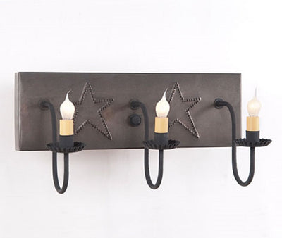 3 Arm Punched Tin Vanity Light ~ Country Stars in Blackened Tin Finish