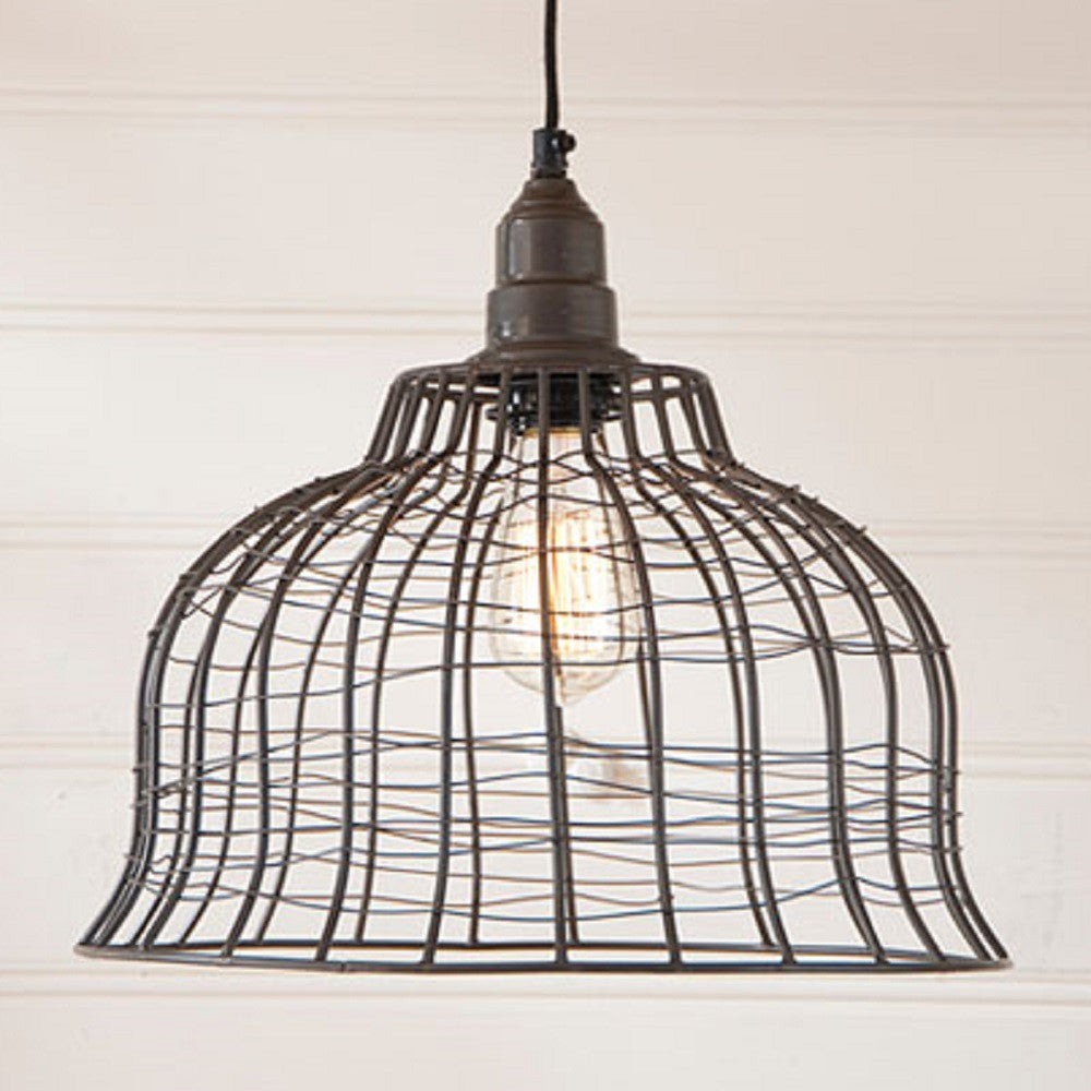 Industrial wire cage pendant lamp in smokey black finish saving industrial wire cage pendant lamp in smokey black finish mozeypictures Image collections