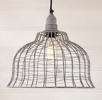 INDUSTRIAL WIRE CAGE PENDANT LAMP in Weathered Zinc Finish