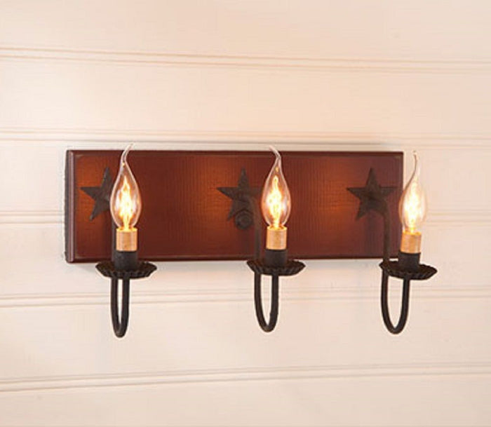 3 ARM CANDELABRA VANITY LIGHT with Country Stars in Sturbridge Colors
