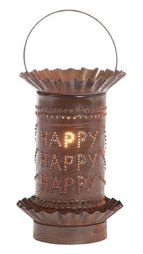 PUNCHED RUSTIC TIN WAX TART WARMER Handmade Electric HAPPY HAPPY HAPPY Accent Light