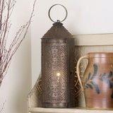 "Primitive Colonial Chimney 18"" Lantern with Chisel Design in Blackened Tin Finish"