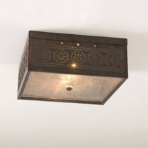 CEILING LIGHT Square Pierced & Seedy Glass with Blackened Tin Finish & Chisel Pattern