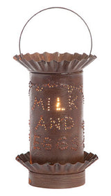 PUNCHED TIN WAX TART WARMER Handmade Electric MILK & EGGS Rustic Tin Accent Light