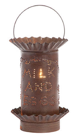PUNCHED TIN WAX TART WARMER Handmade Electric MILK & EGGS Accent Light in Rustic Tin or Kettle Black