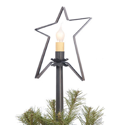 CHRISTMAS TREE STAR with CANDLE LIGHT Handcrafted Primitive Tin Topper in 2 Finishes *WIRED*