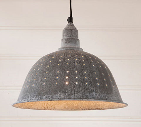 COUNTRY COLANDER PENDANT LAMP in Weathered Zinc Finish