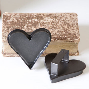 12 COUNTRY HEART COOKIE CUTTERS ~ Primitive Decor Ornament Set in Smokey Black