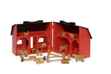 LARGE FOLDING BARN with BARNYARD- Complete Farm Animals & Fence - Amish Handmade in USA