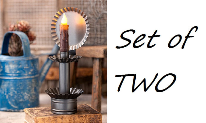 PAIR of CRIMPED TIN CANDLE HOLDERS Set of 2 in Smokey Black Finish