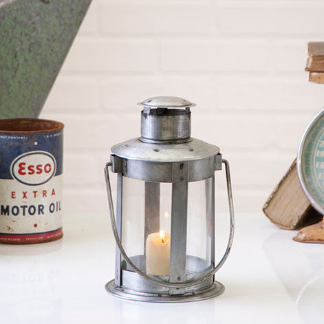 Tin Glass Pipe Candle Lantern Accent Light Home Decor Gift
