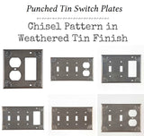 PUNCHED TIN SWITCH PLATES ~ Set of Five (5) ~ Chisel Pattern in Weathered Tin