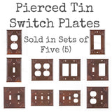 PUNCHED TIN SWITCH PLATES ~ Set of Five (5) ~ Chisel Pattern in Rustic Tin