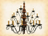3-TIER 21 ARM CHANDELIER - Handmade Wood & Scrolled Metal Candelabra