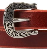 "LADIES LEATHER BELT - ¾"" Wide Two-Tone with Embossed Buckle"