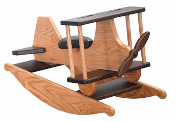 ROCKING AIRPLANE Handmade Solid Oak BiPlane Rocker with Working Propeller & Faux Leather Seat