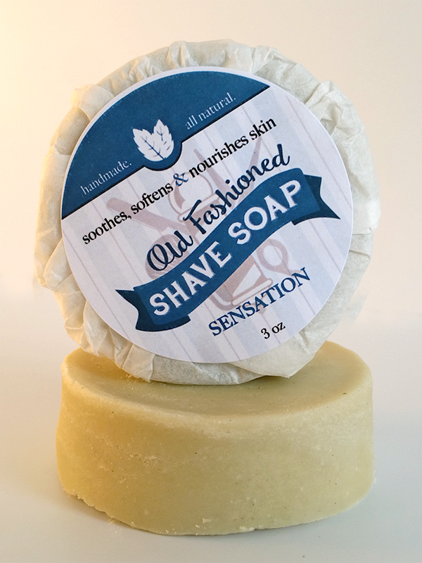 Sensation Shave Soap ~ All Natural Handmade Shaving Disk with Eucalyptus & Peppermint 3oz Bar