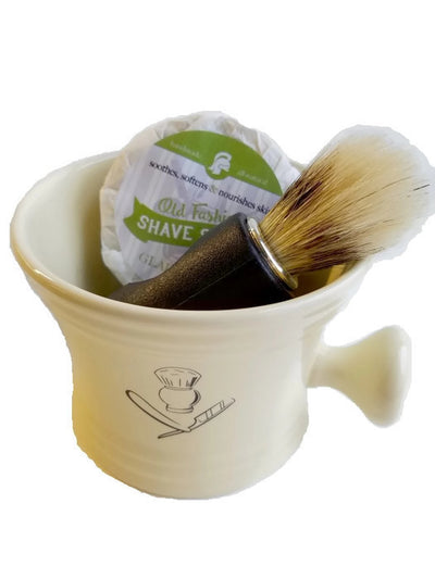 Shaving Kit ~ Old Fashioned Handmade Pottery Mug, Brush and Choice of Shaving Soap