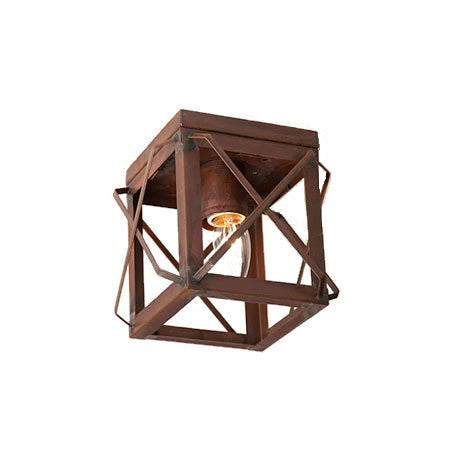 Rustic Tin Ceiling Light with Folded Bars Handcrafted in USA