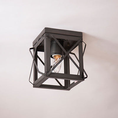 Handcrafted Kettle Black Tin Ceiling Light USA Made