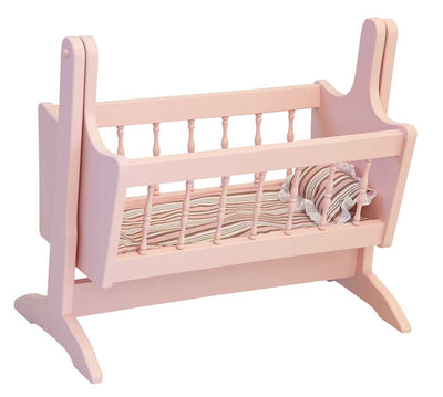 "18"" BABY DOLL SWINGING CRADLE Amish Handcrafted American Girl Swing with Bedding"