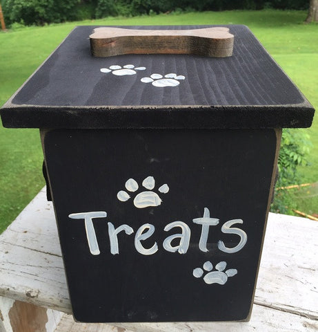 DOG TREAT STORAGE CHEST Amish Handmade Wood Snack Distressed Black