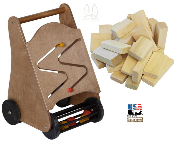 PUSH WALKER Wood Block Roller with Wood Building Blocks Set 2-in-1 Toddler Toy
