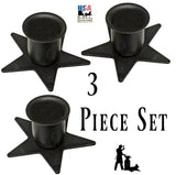 STAR WINDOW SILL CANDLE HOLDER - Set of Three (3) Wrought Iron Country Metal Stands