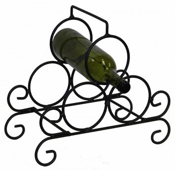 PRIMITIVE WROUGHT IRON WINE RACK 3 Bottle Hand Forged Rack