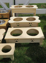 """TABLE TOP"" WOOD DOG FEEDER Handmade Elevated Stand with Paw Print Bowls - Unfinished Pine"