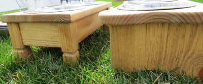"""TABLE TOP"" WOOD DOG FEEDER Handmade Elevated Stand with Paw Print Bowls - Finished Pine"