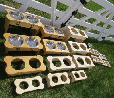 """TABLE TOP"" WOOD DOG FEEDER Handmade Elevated Stand with Paw Print Bowls Unfinished Pine"